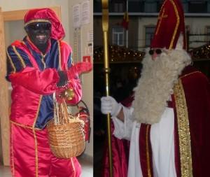 Saint-Nicolas et le père Fouettard très souriant